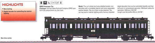 58083 Type C4 Pr 04 3rd Class Compartment Car w/Interior Light - Ready to Run -- German State Railroad Company DRG #1 (Era II, green)
