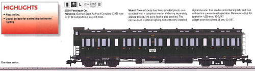 58084 Type C4 Pr 04 3rd Class Compartment Car w/Interior Light - Ready to Run -- German State Railroad Company DRG #2 (Era II, green)
