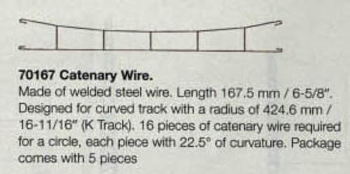 "W441-70167  Marklin HO Catenary -- Catenary Wire  Length: 6-5/8""  (For K Track)  Pkg(5)"