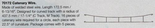 """W441-70172  Marklin HO Catenary -- Catenary Wire  Length: 6-13/16"""" (For C,M Track)  Pkg(5)"""