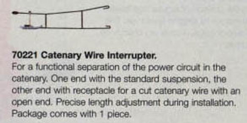 W441-70221  Marklin HO Catenary -- Contact Wire Interrupter