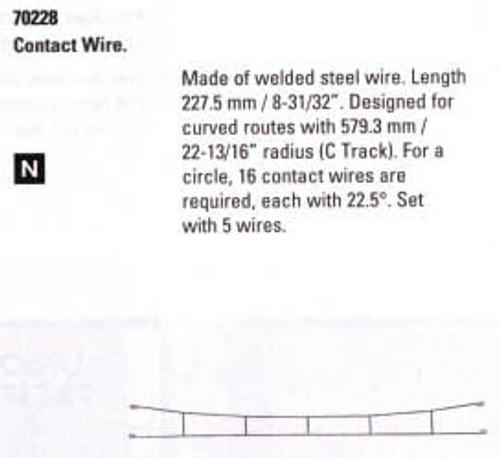 """W441-70228  Marklin HO Catenary -- Catenary Wire   Length: 8-15/16""""   (For C Track)  Pkg(5)"""