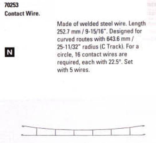 """W441-70253  Marklin HO Catenary -- Catenary Wire   Length: 9-15/16""""  (For C Track)  Pkg(5)"""