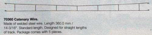 "W441-70360  Marklin HO Catenary -- Catenary Wire   Length: 14-3/16""  (For Straight Track)  Pkg(5)"