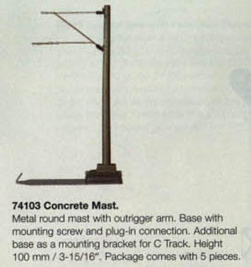 """74103 Marklin HO Catenary -- Concrete Mast  Height: 3-15/16""""  Pkg(5)"""