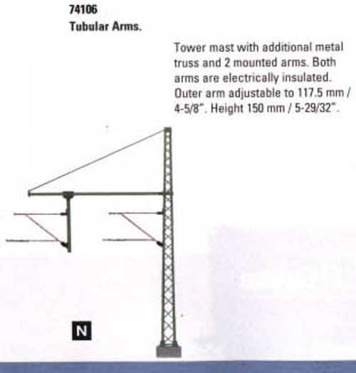 """74106 Marklin HO Catenary -- Tower Mast with tubular Outrigger Beam for Hanger Arm  Height 5-7/8"""""""