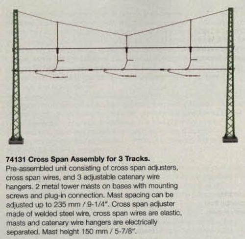 74131 Marklin HO Catenary -- Cross Span Assembly for 3 Tracks