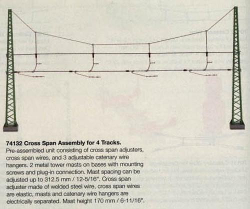 74132 Marklin HO Catenary -- Cross Span Assembly for 4 Tracks