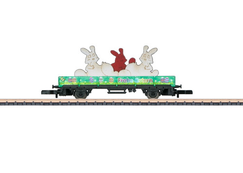 80419 Low-Side Flatcar - Ready to Run -- 2019 Easter Car (green, bunny load)