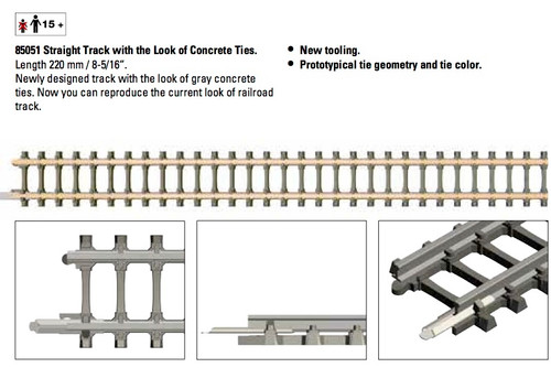 "85051 A1  Code 55 Straight Track w/Concrete Ties -- 8-5/16""  22cm"