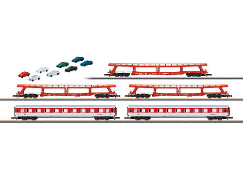 W441-87092  DB Auto Train 5-Car Set - Ready to Run -- 3 DDm 915 Auto Carriers & 2 Avmz Compartment Cars (Era V, red, white)
