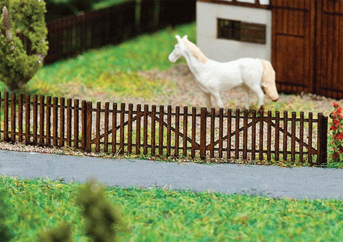 """W272-272410  Wooden Picket Fence -- Kit - 4 Sections Each 3-3/8 x 1/16 x 5/16""""  8.6 x .1 x .8cm"""