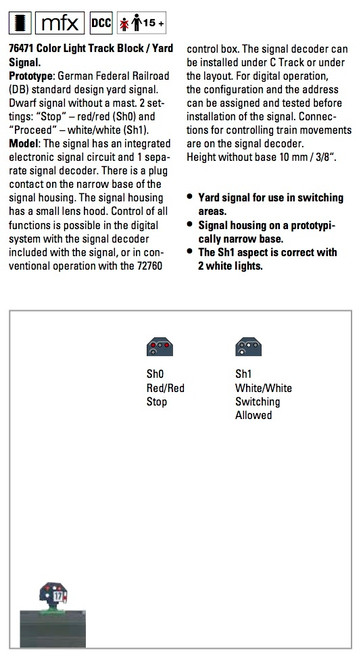 W441-76471  Color Light Track Block Signal