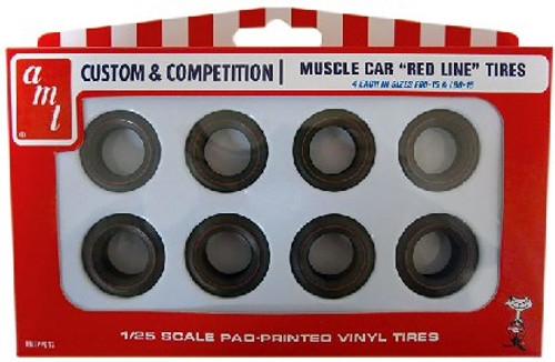 AMT-PP13  1/25 Muscle Car Red Line Tire Pack (4ea of 2 Diff)