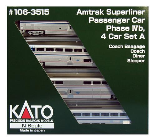 N Amtrak PhIVb Superliner Set A/4pk w/Interior Lighting