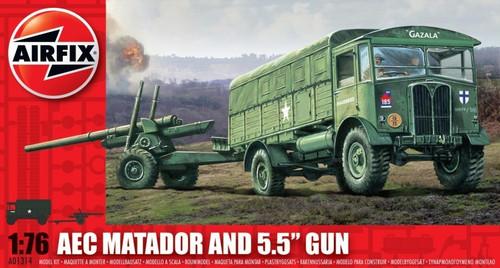 """ARX-1314  1/76 AEC Matador 4x4 Truck & 5.5"""" Gun"""