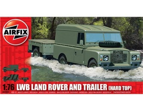 ARX-2324  1/76 LWB Hardtop Land Rover w/Two-Wheeled Trailer