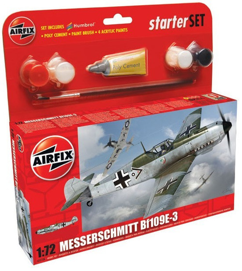 ARX-55106  1/72 Bf109E3 Fighter Small Starter Set w/paint & glue