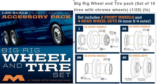 MOE-1010  1/25 Big Rig Wheel & Tire Set (10/pk)