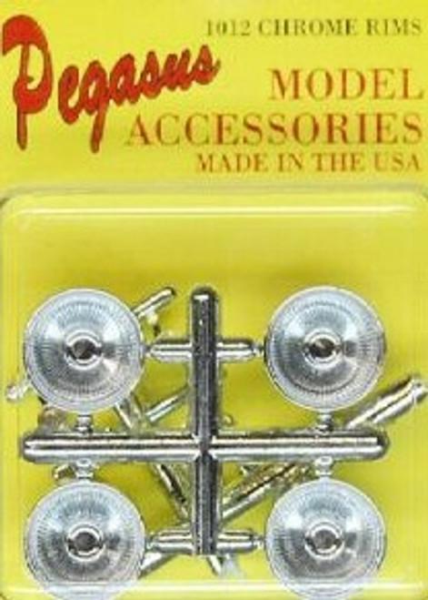 PGH-1012  1/24-1/25 Deep Dish Chrome Spoke Rims w/Knock Offs (4)