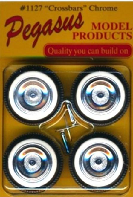 PGH-1127W  1/24-1/25 Crossbars Chrome Rims w/Fat Whitewall Tires (4)