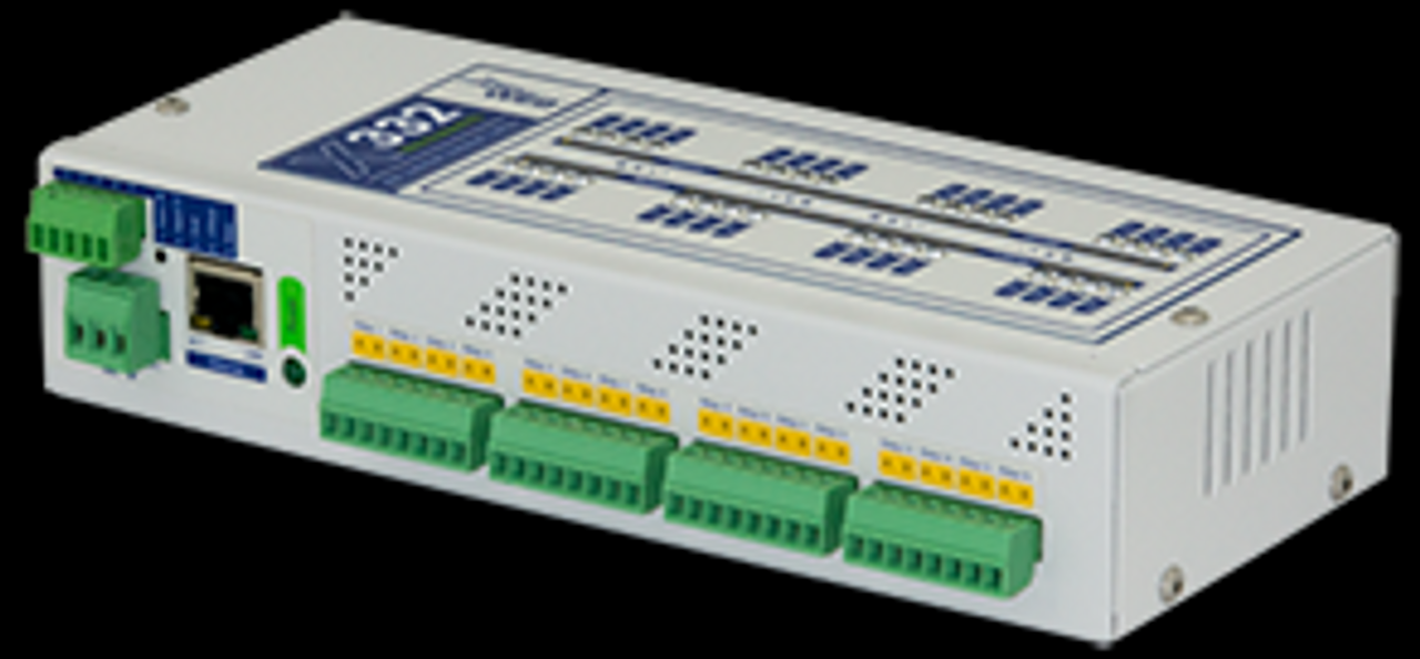 X-332 with 16 digital inputs, 2 counter inputs, 16 relays, 1-wire, and 4 analog inputs.