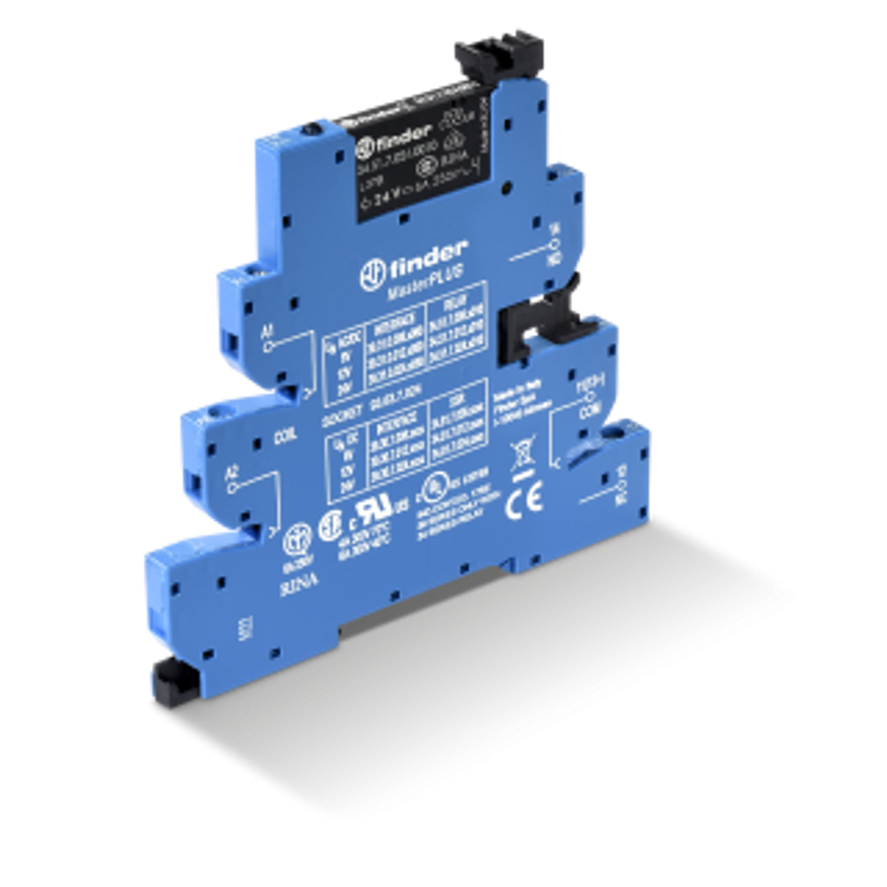 EMR-MasterPLUS, SPDT 6A, 125V AC leakage suppression circuit coil, AgNi contact, screw terminal socket