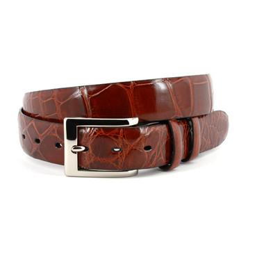 Genuine American Alligator Belt - Cognac
