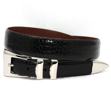 Black Alligator Embossed Calfskin Belt With 4pc Buckle Set in Big and Tall sizes
