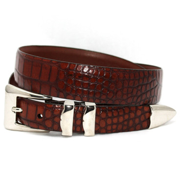 Cognac Alligator Embossed Calfskin Belt With 4pc Buckle Set in Big & Tall sizes