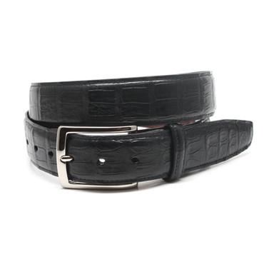 Black Genuine South American Caiman Belt