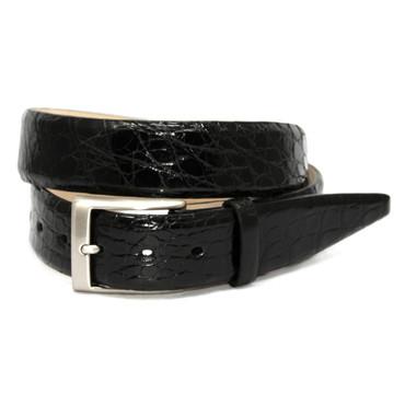 Glazed South American Caiman Belt in Black