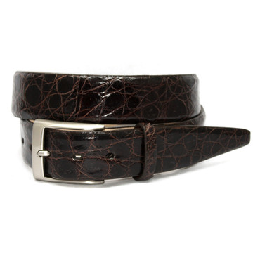 Glazed South American Caiman Belt in Brown