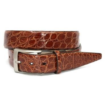 Glazed South American Caiman Belt in Cognac
