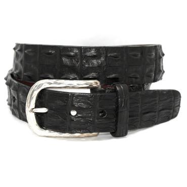 Genuine Hornback Crocodile Belt - Black
