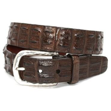 Genuine Hornback Crocodile Belt - Brown
