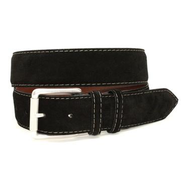 European Sueded Calfskin Belt - Black