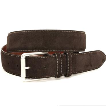 European Sueded Calfskin Belt - Brown