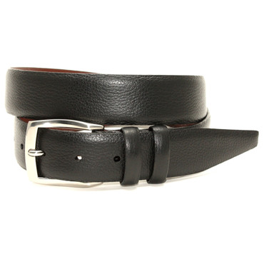 Black Pebble Grained Calfskin Dress Belt