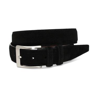 Italian Sueded Calfskin Belt - Black