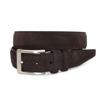 Italian Sueded Calfskin Belt - Brown