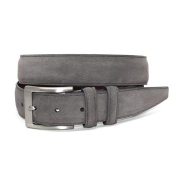 Italian Sueded Calfskin Belt - Grey