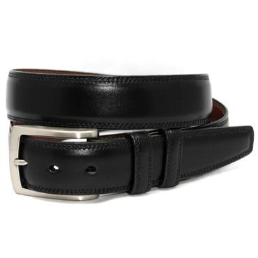 Black Italian Burnished Kipskin Leather Belt