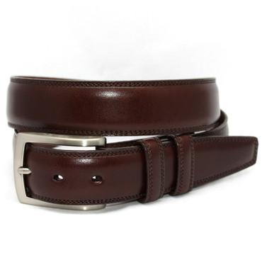 Italian Burnished Kipskin Leather Belt in Brown