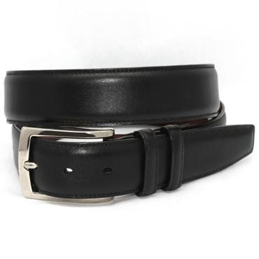 Italian Burnished Calfskin Belt - Black