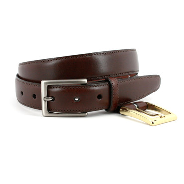 Glazed Kipskin Double Buckle Option Belt - Brown