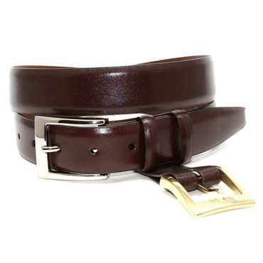 Italian Calfskin Double Buckle Option Belt - Brown