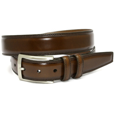 Hand Stained Italian Kipskin Belt - Brown