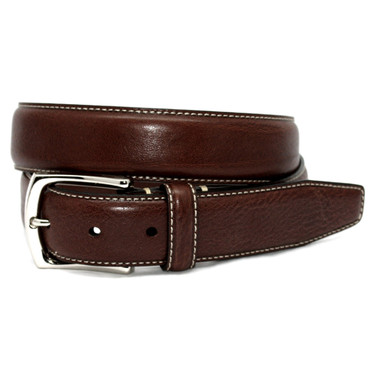 Burnished Tumbled Leather Belt - Brown