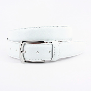 Burnished Tumbled Leather Belt - White
